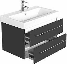 Emotion ICON75CM000104DE Waschbecken mit Unterschrank, Holz, anthrazit seidenglanz, 75 x 45 x 46,6 cm