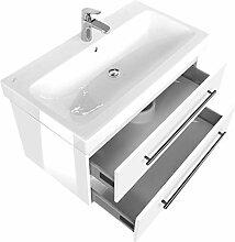 Emotion ICON90CM000101DE Waschbecken mit Unterschrank, Holz, weiß hochglanz, 90 x 45 x 46,6 cm