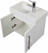 Emotion ICONXS53CMRECHTS000101DE Waschbecken mit Unterschrank, Holz, weiß hochglanz, 53 x 41 x 29,6 cm