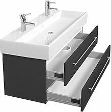 Emotion MEMENTO120CMDOPPEL000104DE Waschbecken mit Unterschrank, Holz, anthrazit seidenglanz, 120 x 45 x 47 cm