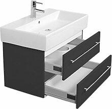 Emotion MEMENTO80CM000104DE Waschbecken mit Unterschrank, Holz, anthrazit seidenglanz, 80 x 45 x 47 cm