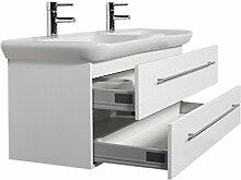 Emotion MYDAY130CM000101DE Waschbecken mit Unterschrank, Holz, weiß hochglanz, 130 x 45 x 41,6 cm