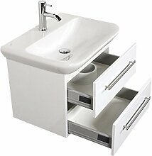 Emotion MYDAY65CM000101DE Waschbecken mit Unterschrank, Holz, weiß hochglanz, 65 x 45 x 41,6 cm