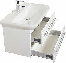 Emotion MYDAY80CM000101DE Waschbecken mit Unterschrank, Holz, weiß hochglanz, 80 x 45 x 41,6 cm