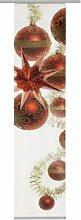 emotion textiles,7003 Glaskugeln Weihnacht rot, Flächenvorhang Weihnachten 1er-Set rot gold, Schiebevorhang blickdicht ca 30%, Transparenz ca.70%, Digitaldruck rückseitig prozentual sichtbar