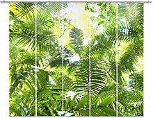 Emotion Textiles,Mehr Sehen Unter FERNWEHKOLLEKTION,10686,Flächenvorhang Dschungel Grün Landschaft 5er-Set,Fotogardine, Schiebevorhang Blickdicht 85%, Digitaldruck Rückseitig prozentual sichtbar