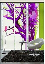 emotiontextiles 1057 Flächenvorhang, Schiebevorhand, Raumteiler 3-er Set Baum der Vögel, 180 x 260 cm, weiß/violett/rosa/grün