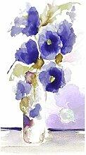 emotiontextiles 1058 Flächenvorhang, Schiebevorhand, Raumteiler 2-er Set Aquarell Mohn, 120 x 260 cm, weiß/blauviole
