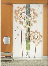 emotiontextiles 1073 Flächenvorhang, Schiebevorhand, Raumteiler 2-er Set Löwenzahn, 120 x 260 cm, rot/gelb/orange