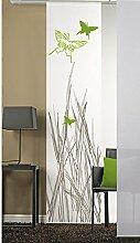 emotiontextiles 1103 Flächenvorhang, Schiebevorhand, Raumteiler Schmetterling, 60 x 260 cm, weiß/apfelgrün,