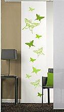 emotiontextiles 1104 Flächenvorhang, Schiebevorhand, Raumteiler Schmetterlinge 2, 60 x 260 cm, weiß / apfelgrün,