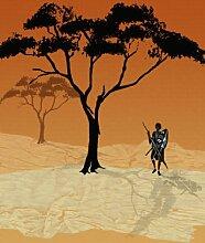 emotiontextiles 3-tlg. Flächen-Schiebevorhang 1032 Afrika Massai rot/180 x 260 cm/made in Germany/100% Polyester