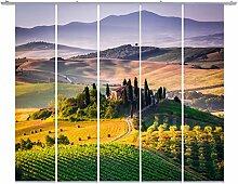 emotiontextiles,FERNWEHKOLLEKTION,10684,Flächenvorhang Landschaft 5er-Set,grün,Fernweh-Kollektion Toskana, Schiebevorhang blickdicht 85%, Digitaldruck rückseitig prozentual sichtbar,