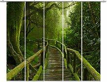 emotiontextiles,FERNWEHKOLLEKTION, 10688,Flächenvorhang Landschaft 5er-Set, grün,Fernweh-Kollektion Jungle Bridge, Schiebevorhang blickdicht 85%, Digitaldruck rückseitig prozentual sichtbar