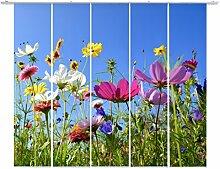emotiontextiles,FERNWEHKOLLEKTION,10690 mehrteilig, Flächenvorhang Landschaft 5er-Set, rot,grün,blau-gelb,pink , Blumen Wiese,auch Sonderanfertigung,Schiebevorhang blickdicht 85%, Digitaldruck rückseitig prozentual sichtbar