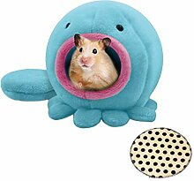 Emours Hängematte für Haustiere, Oktopus-Design, warm, Plüsch, zum Aufhängen, mit extra Bettmatte
