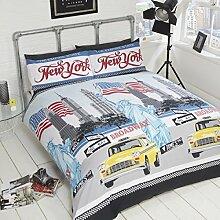 EMPIRE STATE Single Bettbezug und Kissenbezüge Bett Set Bettwäsche New York, Polyester-, Multi