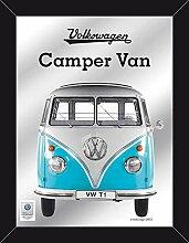 empireposter Volkswagen - Bulli – Camper Van blau - Größe (cm), ca. 30x40 - Maxi-Spiegel, NEU - Beschreibung: - Bedruckter Wandspiegel mit schwarzem Kunststoffrahmen in Holzoptik -