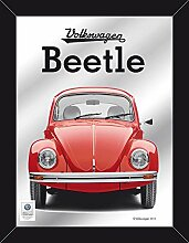empireposter - Volkswagen - Käfer – Beetle rot - Größe (cm), ca. 30x40 - Maxi-Spiegel, NEU - Beschreibung: - Bedruckter Wandspiegel mit schwarzem Kunststoffrahmen in Holzoptik -