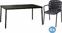 Emu Yard Gartenset 160x98 Tisch + 4 Stühle (mit
