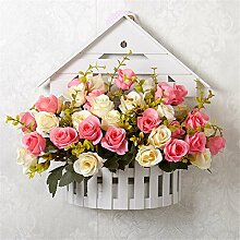 Emulation Blumen Haus-förmige Mauer hanging künstliche Flower suit Wohnzimmer Schlafraum Dekoration Ornaments Neuheit,E/L*H :35cm*31cm