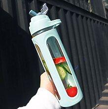 EMVANV Trinkflasche aus Glas mit Strohhalm, 600 ml