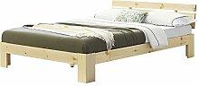 [en.casa] Holzbett 140x200 cm Holz mit Kopfteil