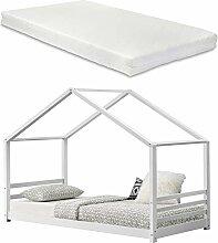 [en.casa] Kinderbett + Matratze mit Lattenrost und