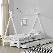 [en.casa] Kinderbett mit 2 Schubladen 90x200cm