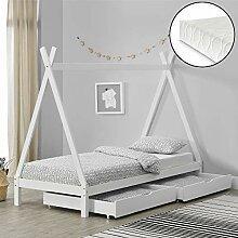 [en.casa] Kinderbett Tipi mit 2 Schubladen und