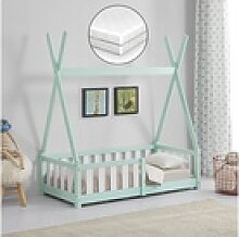 en.casa Kinderbett, Tipi mit Rausfallschutz