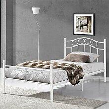 [en.casa] Metallbett 90x200 weiß Bettgestell Bett