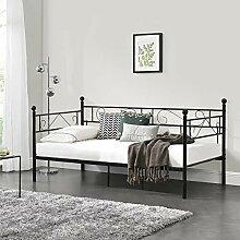 [en.casa] Tagesbett 90x200 Schwarz Metallbett Bett