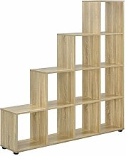 [en.casa] Treppenregal 10 Fächer Holzoptik