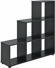 [en.casa] Treppenregal 6 Fächer Grau Raumteiler