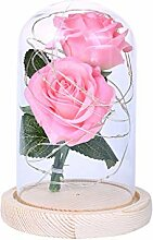 Enchanted Forever 2 Rose Flowers In Glass