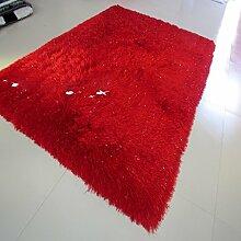 Encryption 8cm dicke Fäden Wohnzimmer mit Schlafsofa Schlafzimmer Teppich den foyer Flur Teppich fusselfreies nicht tragen grün 100 * 140 cm ( farbe : Rot )