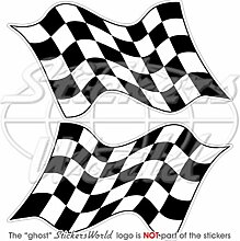 End of Race Checkered Racing Win Waving Flag 195,6cm (195mm) Vinyl Bumper Sticker, Aufkleber X2