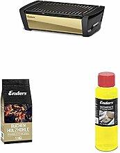 Enders Starter-Set AURORA MIRROR raucharmer Tischgrill, gold 1369, mit Holzkohle und Anzündpaste, rauchfreier Holzkohlegrill, Grill rauchfrei, für Camping-Grillen, Balkon, ausgezeichnetes Design