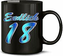 Endlich 18 Volljährig Tasse Becher Kaffeebecher