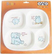 Eñe Elefant Blister Teller, Porzellan, Weiß,
