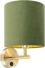 Enge Wandlampe Gold mit grünem Samtschirm - Matt
