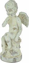 Engel aus Ton 29,5cm hoch Schutzengel Engelsfigur auf Podest sitzend Dekoration Deko Gartendeko Grabdeko