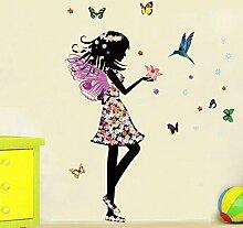 Engel Fee Schmetterlinge Vogel Wandtattoo Haus Aufkleber abnehmbarer Wohnzimmer Tapete Schlafzimmer Küche Art Bild Wandmalereien Sticks PVC Fenster Tür Dekoration + 3D Frosch Auto Aufkleber Geschenk