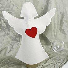 Engel Flaschenüberzug Filz, Engelfigur mit Herz.