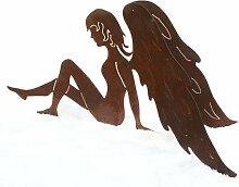 Engel in Edelrost mit Doppelflügel sitzend 30cm x