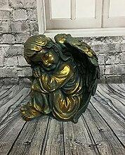 Engel Mädchen sitzend schlafend Dekofigur Figur kupfer