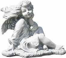 Engel mit Blumen, Skulptur aus Steinguss, Figur