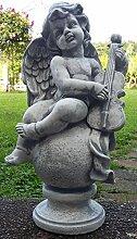 Engel mit Gitarre Figur Skulptur schöne Grabbeigabe ca. 15 kg schwer