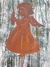 Engel mit Kerze Gartenstecker aus Edelros